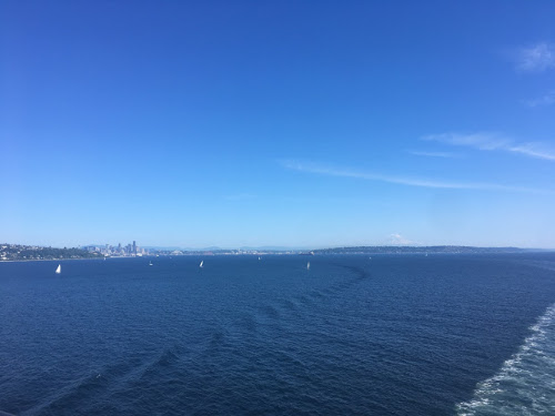 Puget Sound with Seattle in the distance.