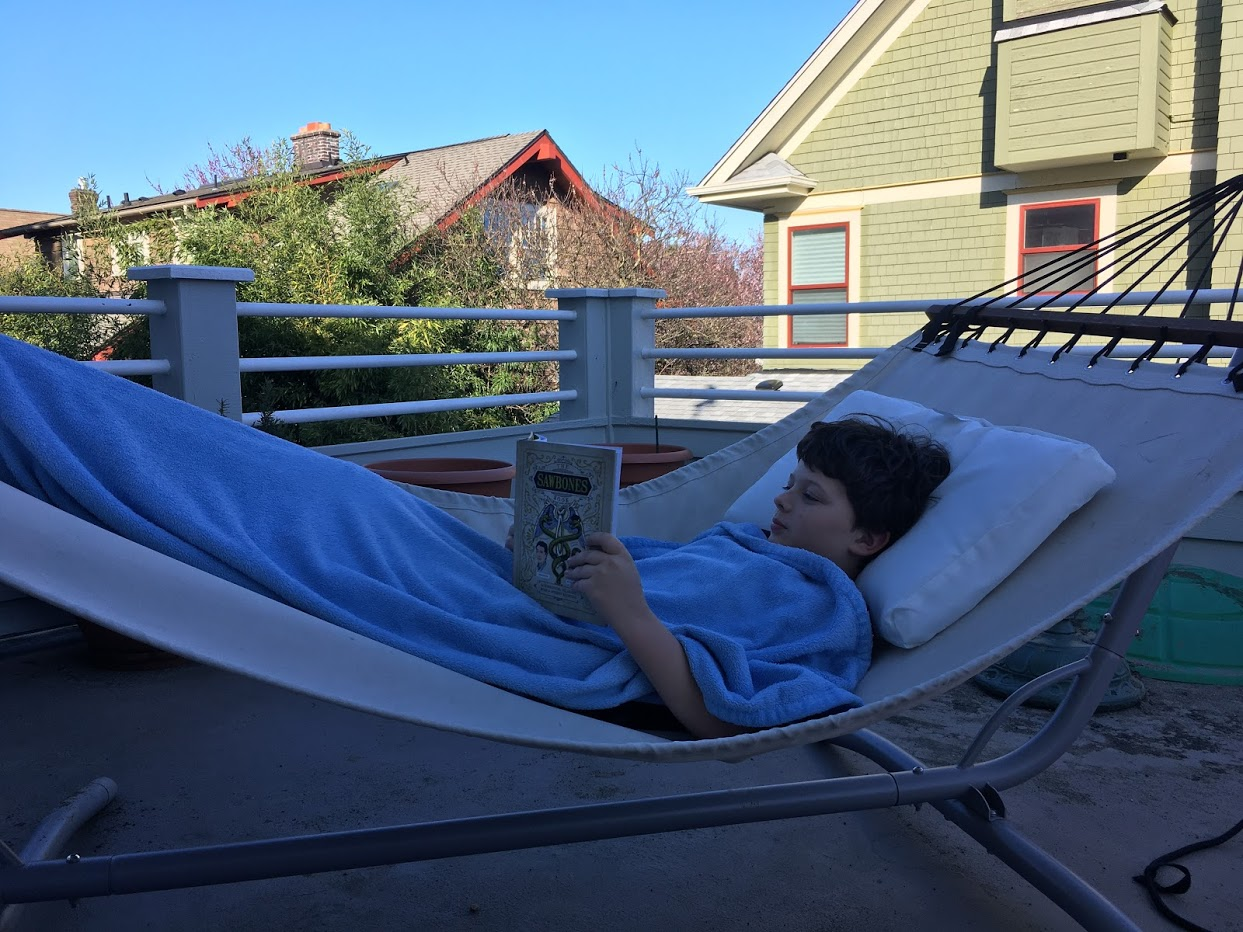 Calvin hanging out in hammock colored in blue blanket reading a book.