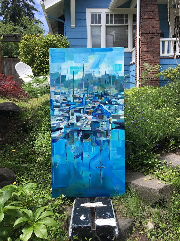 Yard picture: artist advertising painting.