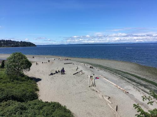 View of beach from pedestrian bridge.