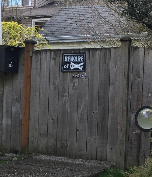"Wooden fence gate with Beware of Dog sign. The word dog is crossed out and below it says ""Frogs!""."