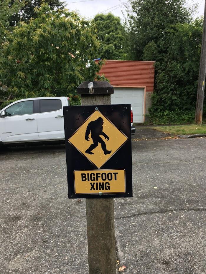 "Sign that says ""Bigfoot xing""."