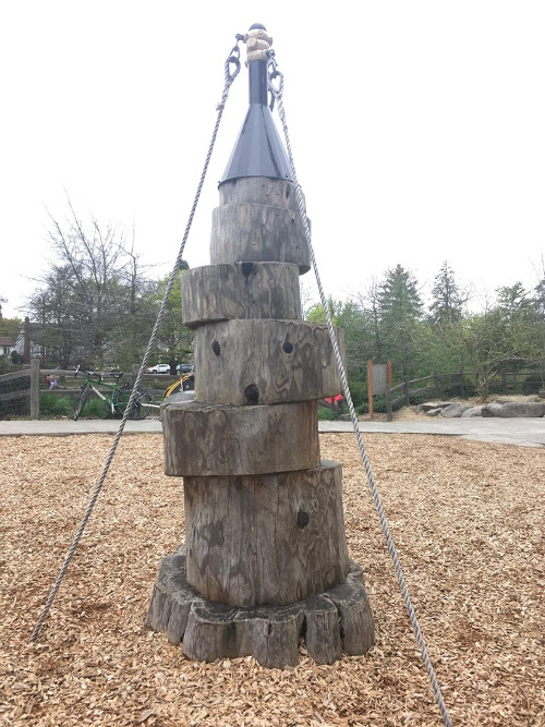 Wood climbing tower.