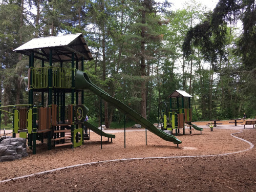 View of large and small play structures