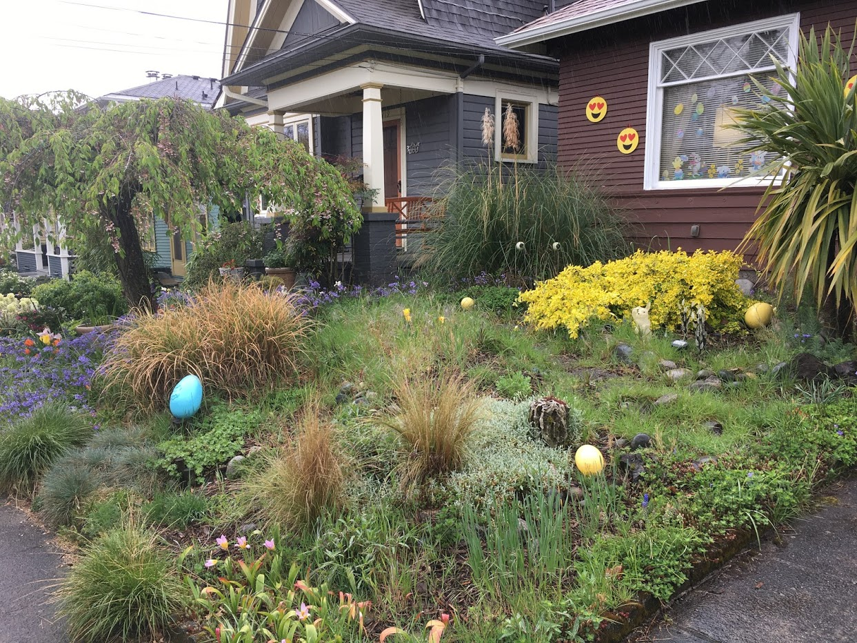 Picture of yard with large, maybe 1 foot high, ceramic eggs scattered about.