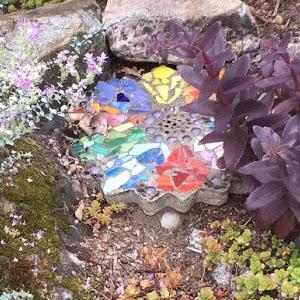 Flower mosaic tile.