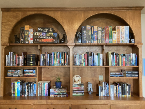 Built-in bookcase with games and books.