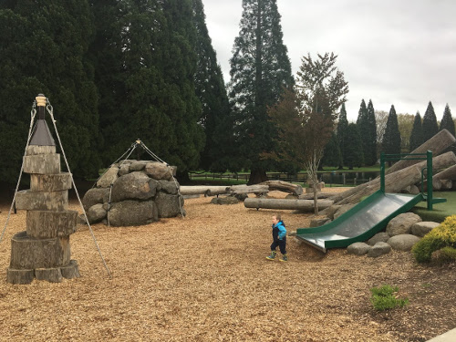 Natural Playground with slide, rock towers, and logs.