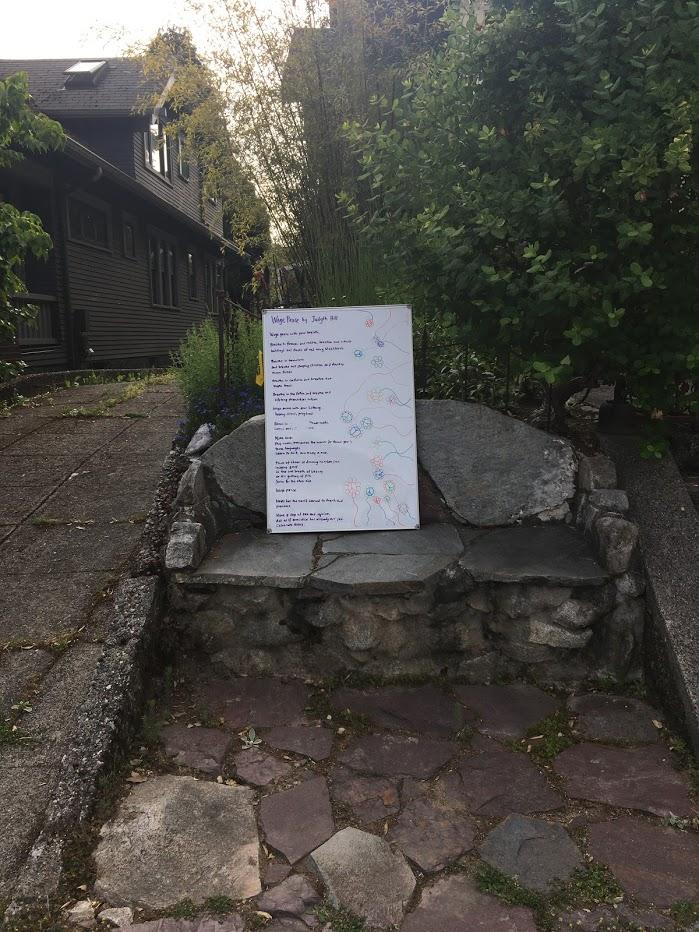 Poem in front yard.
