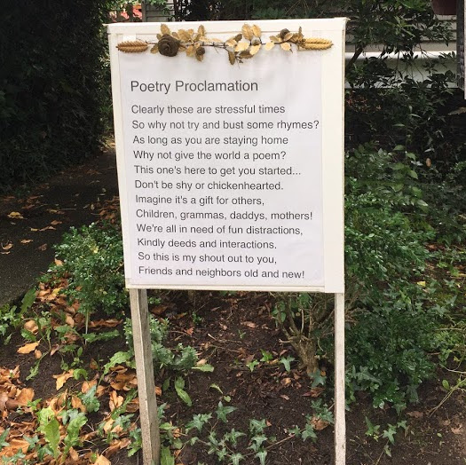 Sign that says Poetry Proclamation.