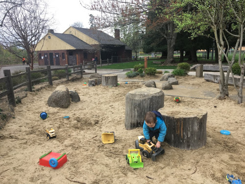 Sand pit with toys and stumps.