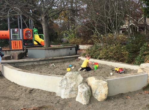 Sandbox with toys.