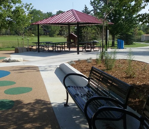 Picnic shelter and bench
