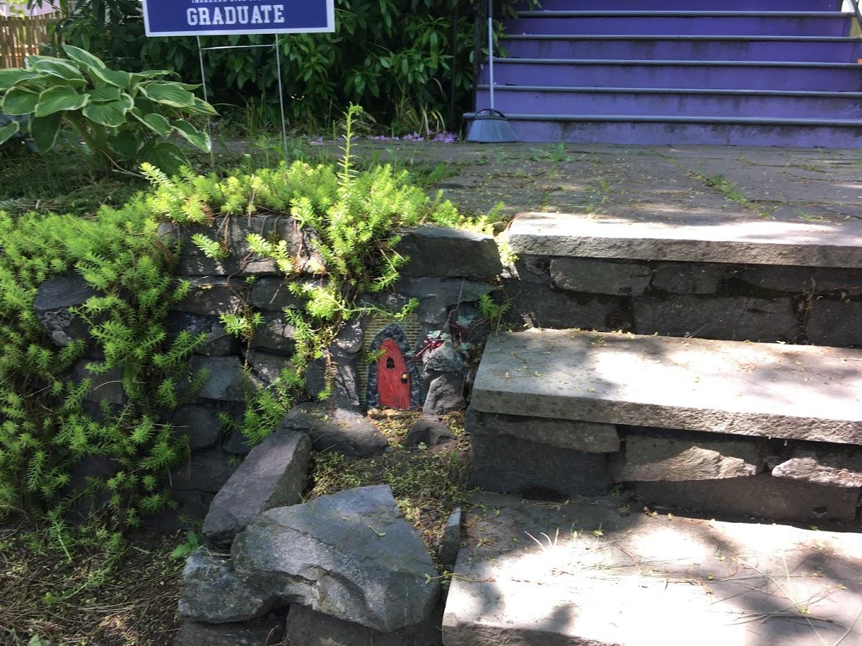 Yard picture: red fairy door 2.