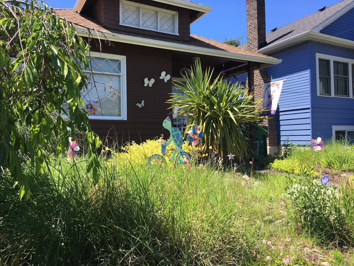 Yard yard decorated for summer with turtle riding a bicycle and pinwheels in the yard.